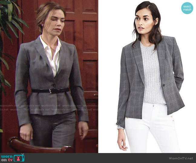 Banana Republic Lightweight Wool Peplum Blazer worn by Amelia Heinle on The Young & the Restless