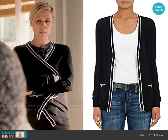 Barneys New York Tipped Cashmere Cardigan worn by Bonnie Winterbottom on HTGAWM