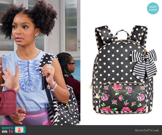 Betsey Johnson Large Bow Backpack worn by Yara Shahidi on Blackish