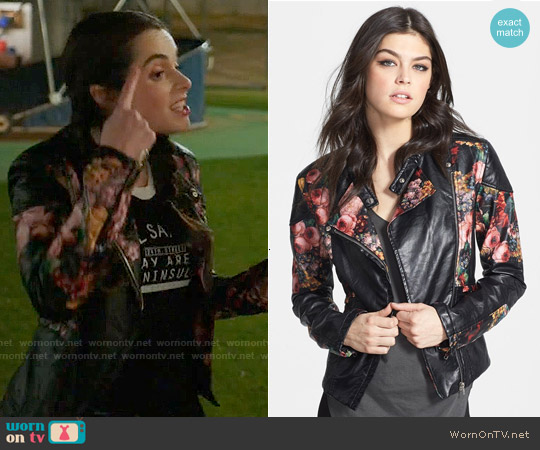 Blank NYC Floral Faux Leather Jacket worn by Vanessa Marano on Switched at Birth