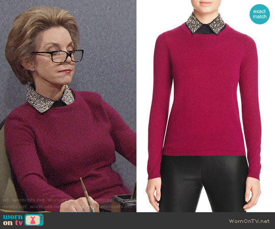 C by Bloomingdales Embellished Collar Cashmere Sweater worn by Gloria Abbott Bardwell (Judith Chapman) on The Young & the Restless