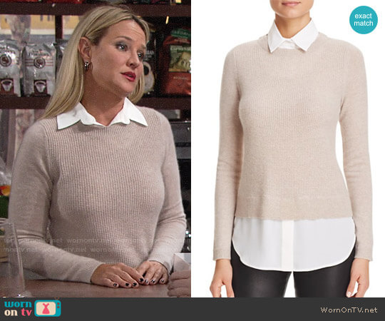 C by Bloomingdales Layered-Look Waffle Knit Cashmere Sweater worn by Sharon Collins (Sharon Case) on The Young & the Restless