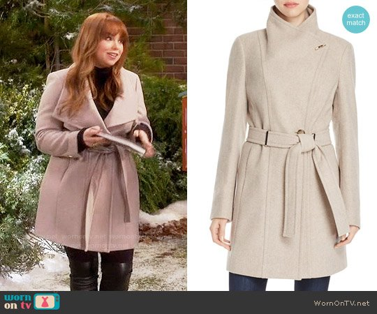 Calvin Klein Toggle Wrap Coat worn by Kristin Baxter (Amanda Fuller) on Last Man Standing