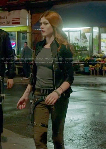 Clary's black slim jacket on Shadowhunters