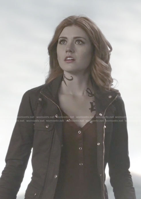 Clary's red henley top and brown field jacket on Shadowhunters