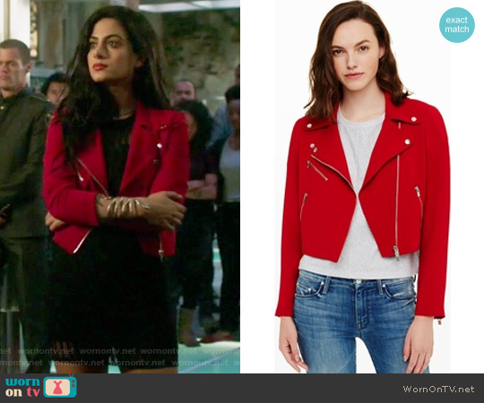 Averie Moto Jacket by Club Monaco worn by Isabelle Lightwood (Emeraude Toubia ) on Shadowhunters