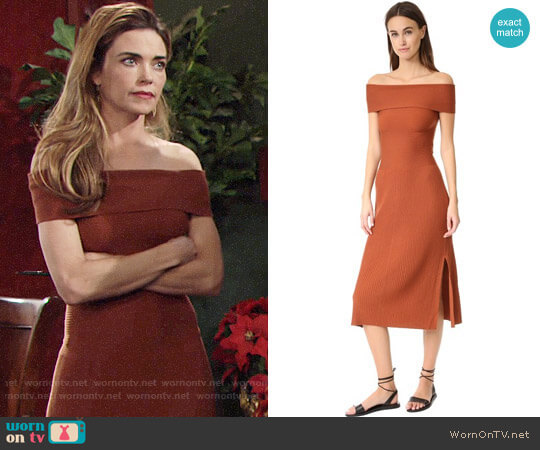 Elizabeth and James Marbella Off Shoulder Knit Dress worn by Victoria Newman (Amelia Heinle) on The Young & the Restless