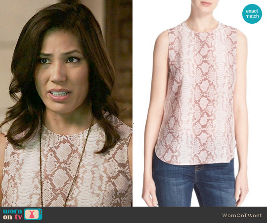Equipment Lyle Top in Picasso worn by Angela Montenegro (Michaela Conlin) on Bones