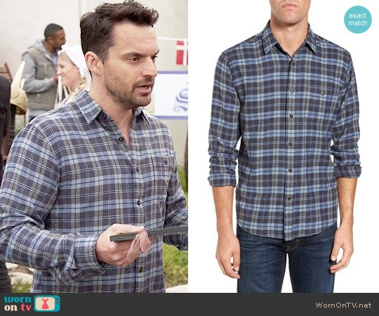 Faherty Seaview Trim Fit Plaid Sport Shirt worn by Nick Miller (Jake Johnson) on New Girl
