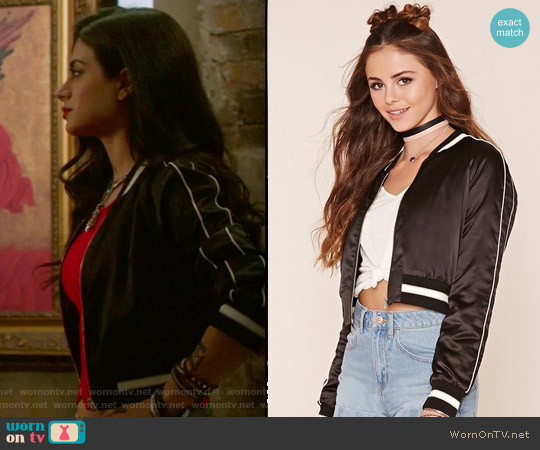 California Souvenir Jacket by Forever 21 worn by Isabelle Lightwood (Emeraude Toubia ) on Shadowhunters