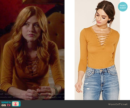 Contemporary Lace-up V-neck Top by Forever 21 worn by Clary Fray (Katherine McNamara) on Shadowhunters
