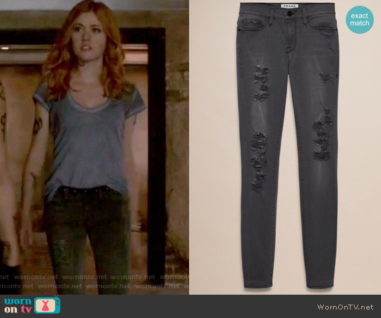 Le Colour Rip Grey Jeans by Frame worn by Clary Fray on Shadowhunters