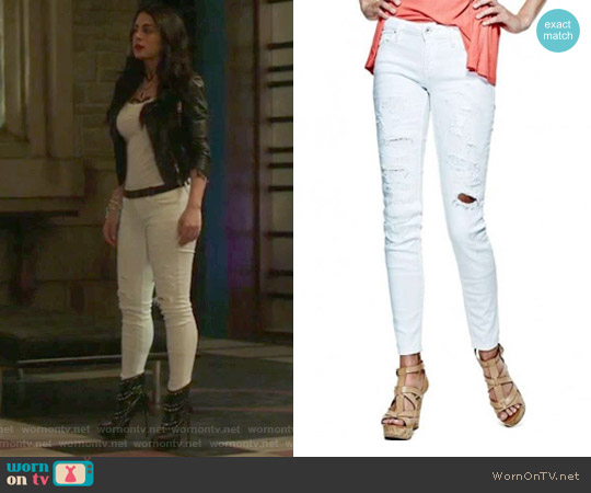 Power Skinny Jeans in White Destroy Wash by Guess worn by Emeraude Toubia  on Shadowhunters