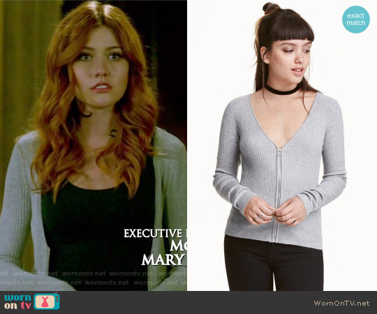 Cardigan with Zip by H&M worn by Katherine McNamara on Shadowhunters