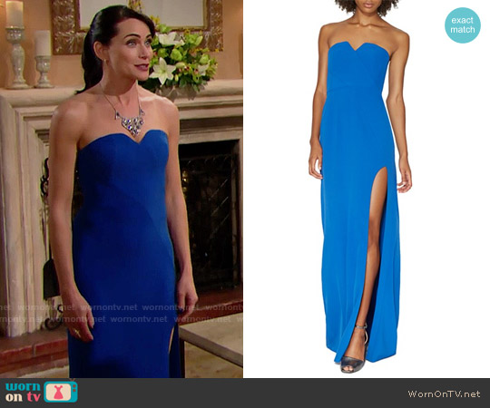 Halston Heritage Notched Strapless Gown worn by Rena Sofer on The Bold & the Beautiful
