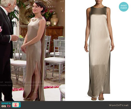 Halston Heritage Sleeveless Satin & Matte Column Gown worn by Rena Sofer on The Bold & the Beautiful