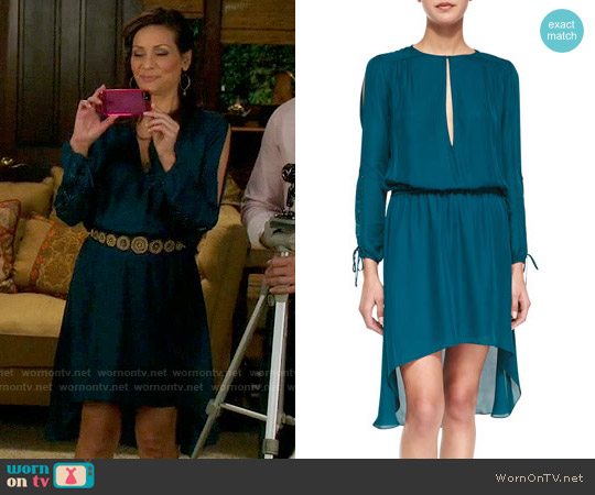 Haute Hippie Long-Sleeve Keyhole-Front Dress worn by Constance Marie on Switched at Birth