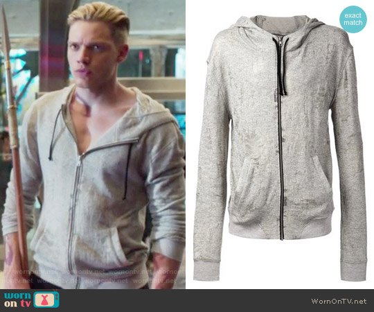 Grey cotton blend distressed hoodie by Iro worn by Jace Wayland (Dominic Sherwood) on Shadowhunters