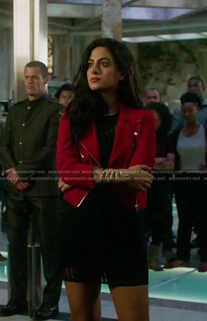 Isabelle's red moto jacket and black mesh dress on Shadowhunters