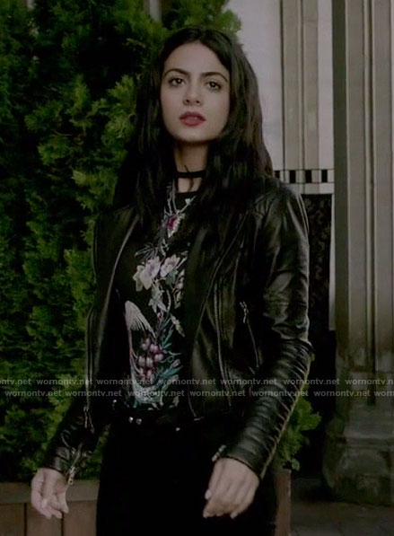 Isabelle's black floral print top and quilted leather jacket on Shadowhunters