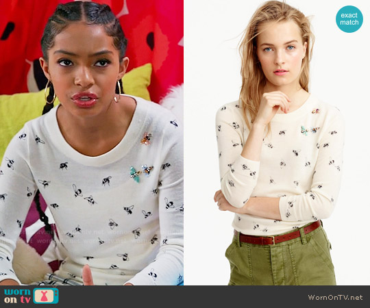 J. Crew Tippi Sweater in Embellished Bee Print worn by Zoey Johnson (Yara Shahidi) on Blackish
