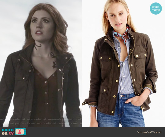 The Downtown Field Jacket in Mossy Brown by J. Crew worn by Clary Fray on Shadowhunters