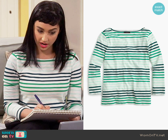 J. Crew Striped boatneck T-shirt in Marine Jade Mint worn by Mandy Baxter ( Molly Ephraim) on Last Man Standing