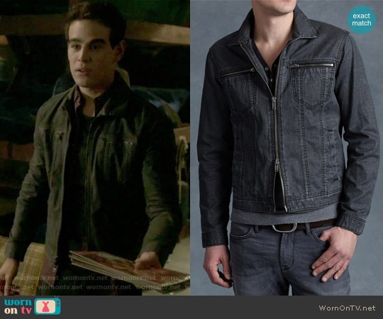 Denim Style Zip Jacket by John Varvatos worn by Alberto Rosende on Shadowhunters