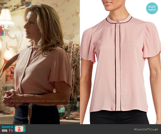 Karl Lagerfeld Pleated-Sleeve Contrast-Trim Blouse worn by Mädchen Amick on Riverdale