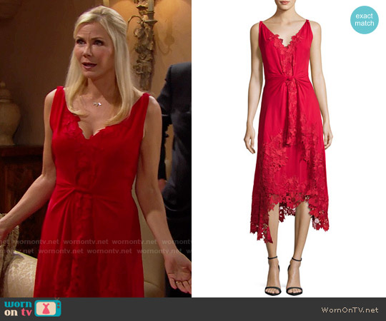 Kobi Halperin Sleeveless Silk Lace-Trim Midi Dress worn by Katherine Kelly Lang on The Bold & the Beautiful