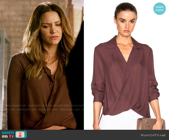L'Agence Rita Blouse in Mulberry worn by Katharine McPhee on Scorpion