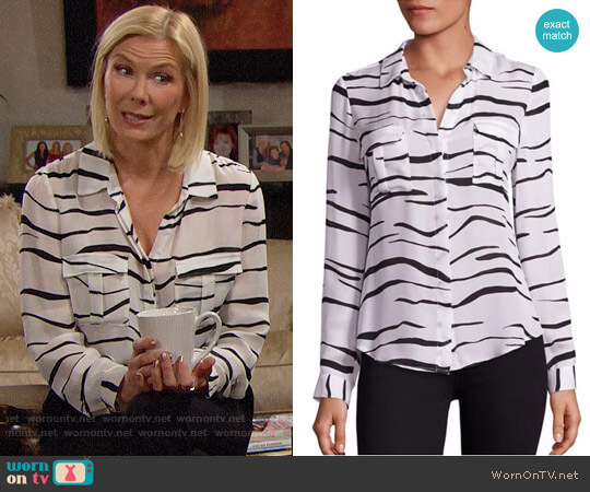 L'Agence Valerie Safari Printed Silk Blouse worn by Katherine Kelly Lang on The Bold & the Beautiful