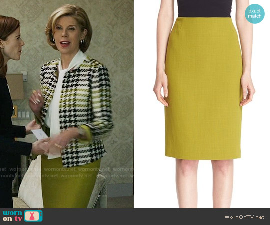 Lafayette 148 New York Pencil Skirt with Back Vent worn by Diane Lockhart on The Good Fight