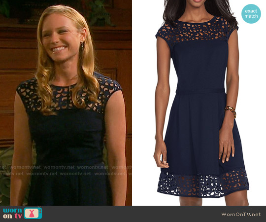 LAUREN Ralph Lauren Lasercut Neoprene Dress worn by Marci Miller on Days of our Lives