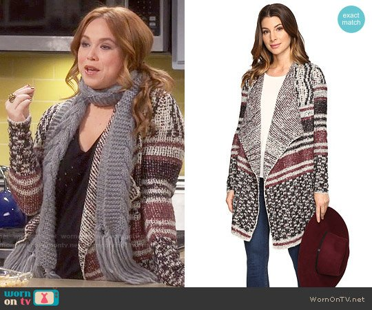Lucky Brand Mixed Striped Cardigan worn by Amanda Fuller on Last Man Standing