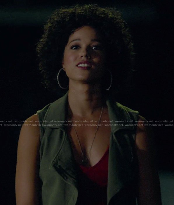 Maia's red v-neck bodysuit on Shadowhunters