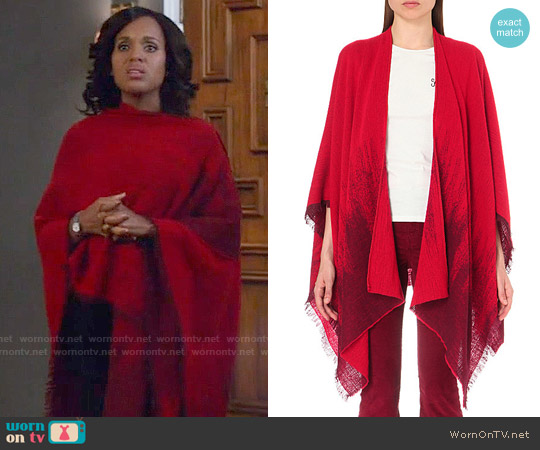 Maje Estragon Wool-blend Poncho worn by Olivia Pope (Kerry Washington) on Scandal