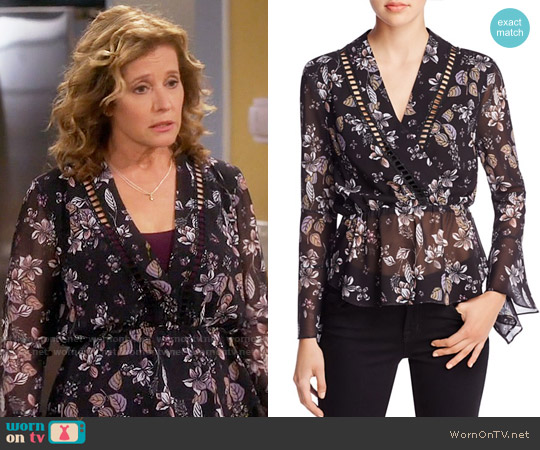 N Nicholas Watercolor Floral Wrap Top worn by Nancy Travis on Last Man Standing