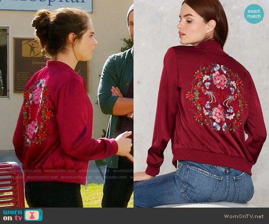 Nasty Gal Flower Trip Bomber Jacket worn by Bay Kennish (Vanessa Marano) on Switched at Birth