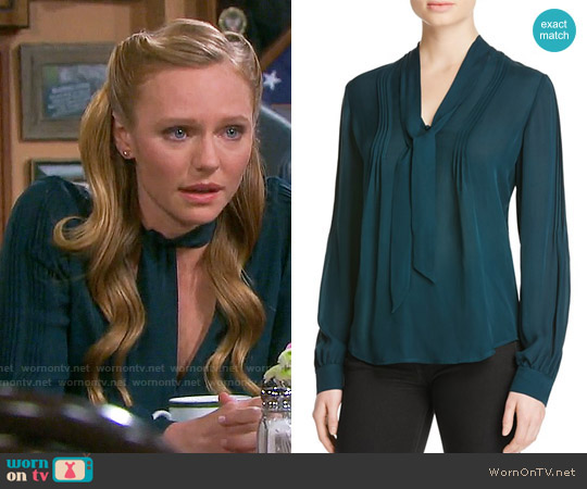 Paige Lupita Blouse in Green worn by Marci Miller on Days of our Lives
