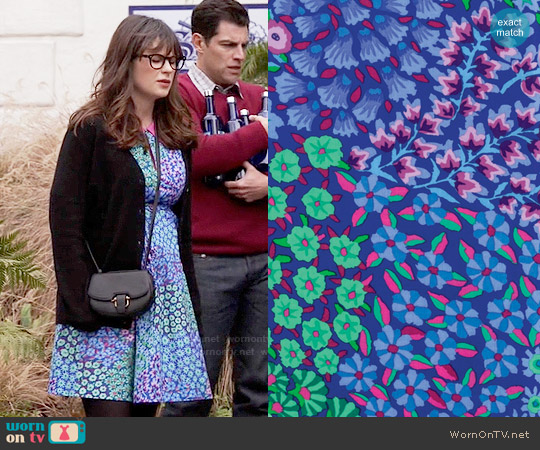 Portsmouth Fabric Co Persian Garden Dress worn by Zooey Deschanel on New Girl