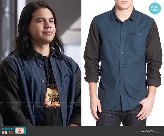 RVCA Two Tone Colorblock Twill Woven Shirt worn by Cisco Ramon on The Flash