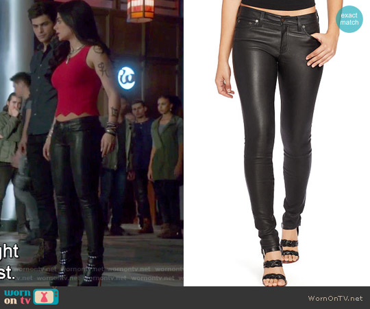 Stretch Leather Skinny Pant by Ralph Lauren worn by Isabelle Lightwood on Shadowhunters