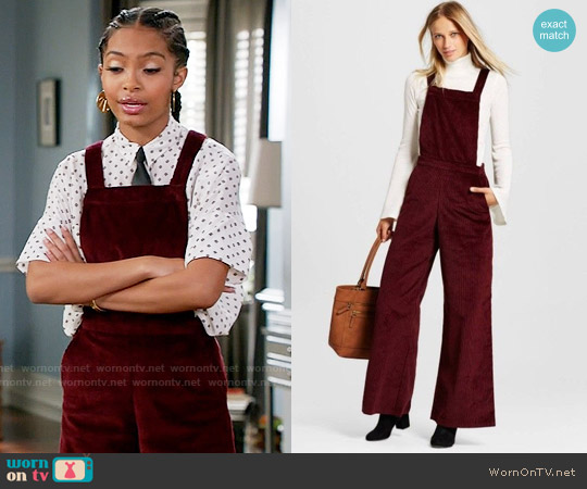 Xhilaration Rich wine corduroy overalls worn by Yara Shahidi on Blackish