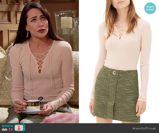 Sandro Sacha Lace Up Sweater worn by Rena Sofer on The Bold & the Beautiful