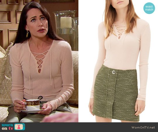 Sandro Sacha Lace Up Sweater worn by Quinn Fuller (Rena Sofer) on The Bold & the Beautiful