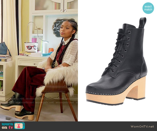 Swedish Hasbeens Lace up Plateau Boot worn by Zoey Johnson on Blackish