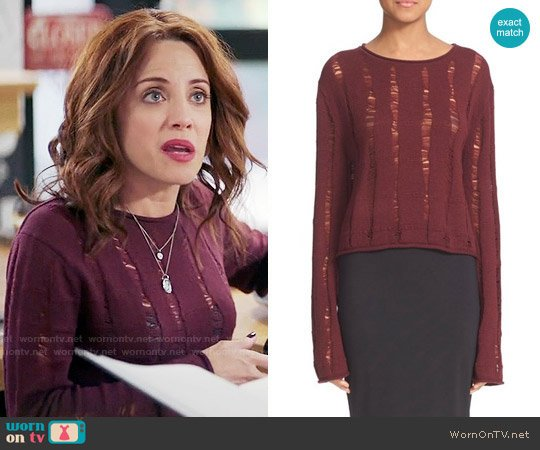 T by Alexander Wang Drop Needle Merino Jersey Crop Sweater worn by Alanna Ubach on GG2D