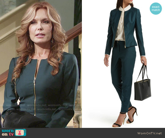 Ted baker Stacia Chintz Curved Suit Jacket and Trousers worn by Tracey Bregman on The Young & the Restless