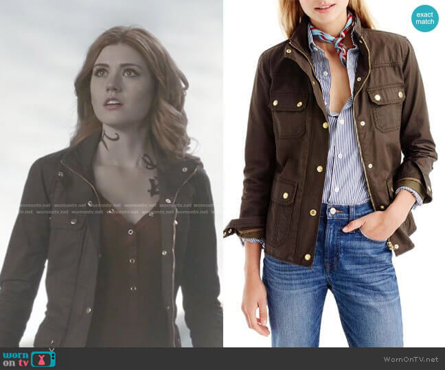 The Downtown Field Jacket in Mossy Brown by J. Crew  worn by Clary Fray (Katherine McNamara) on Shadowhunters